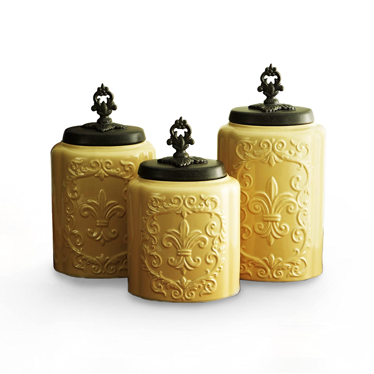 amazon com american atelier canisters cream antique set of 3 amazon com american atelier canisters cream antique set of 3 home kitchen