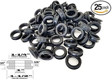Pack Of 25 Rubber Wiring Grommets 6mm Inside 14mm Outside Diameter