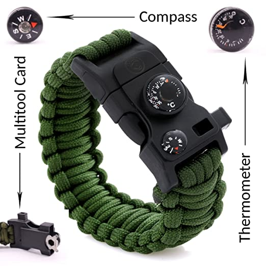 SnR Star Best Paracord Bracelet Outdoor 500 LB - Compass, Thermometer, Whistle, Screwdriver, Scrapper, Wrench,Bottle Opener,Outdoor Hiking Travelling Camping Gear Kit - 12 in 1 Parachute Rope Bracelet