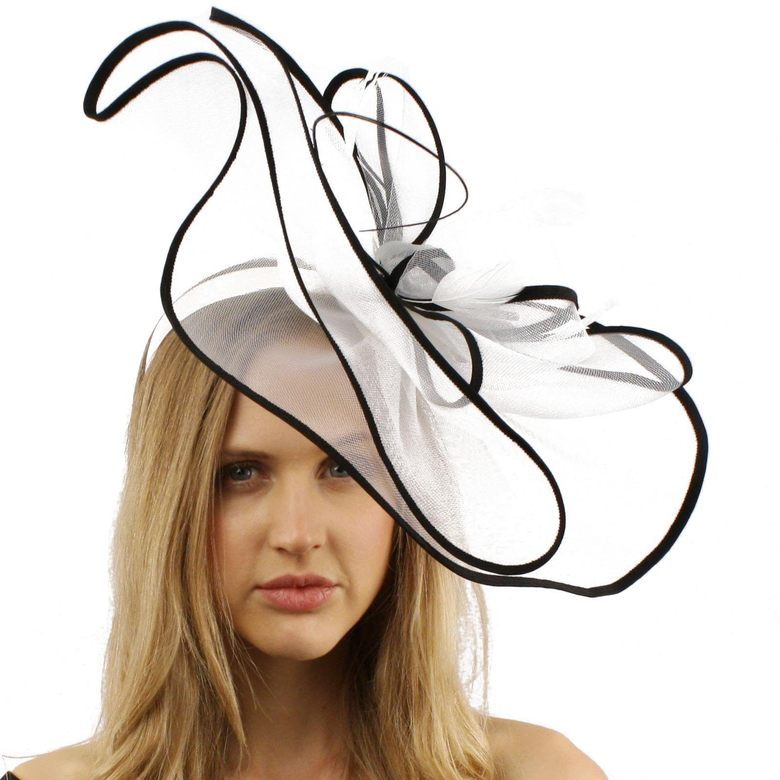 Gorgeous 2tone Feather Quill Fascinators Headband Cocktail Derby Hat White
