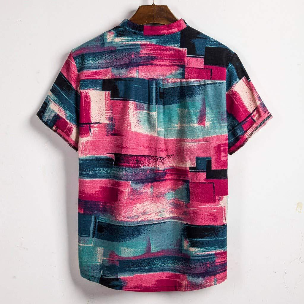 Fascino-M Uomo Camicia Estate Camicia Hawaiana da Uomo Camicie Casual Righe Fiori Tropicale 3D Stampa Manica Corta Manica Corta Stampa Floreale Funky Camicia Hawaiana