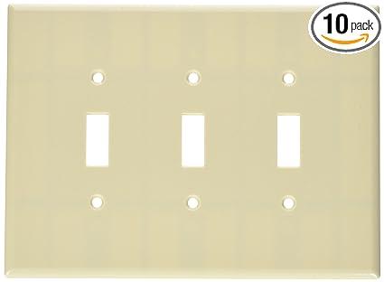 Leviton 86111 3-Gang Toggle Device Switch Wallplate Oversized Device Mount Ivory Thermoset