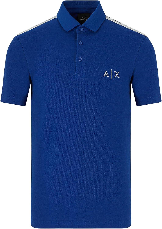 AX Armani Exchange Men's Regular Fit Logo Tape Stripe Short Sleeve Pique Polo Shirt