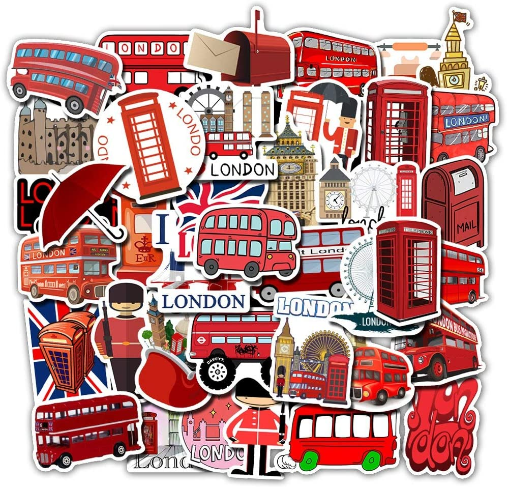 ARPA 50Pcs VSCO London Red Bus Stickers for Laptops Books Cars Motorcycles Skateboards Bicycles Suitcases Skis Luggage Cup Hydro Flasks etc DJHSL