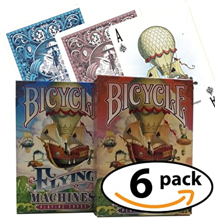 New Bicycle Playing Cards 6 Deck Flying Machines 3 Blue /& 3 Orange