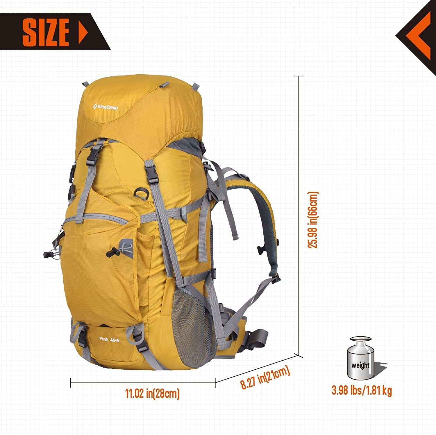 Dur-flex Buckle Backpack KingCamp PEAK PEACK 45+5L Waterproof Anti-Tear Water Repellent Climbing Backpack with Adjustable Strap Belt Internal Frame Packs with Rain Cover and Emergency Whistle