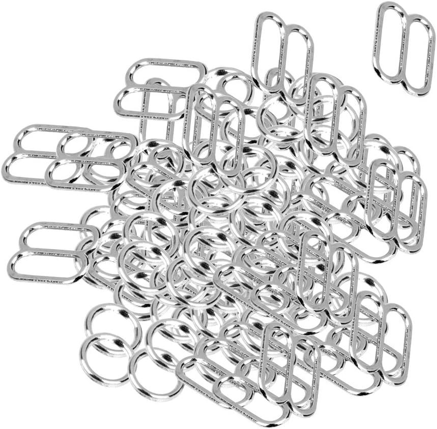 perfektchoice Pack of 100 Bra Adjuster 8 Shaped Metal Underwear Adjustment Buckle Bra Hook Ring and Sliders Underwear Accessories(Silver