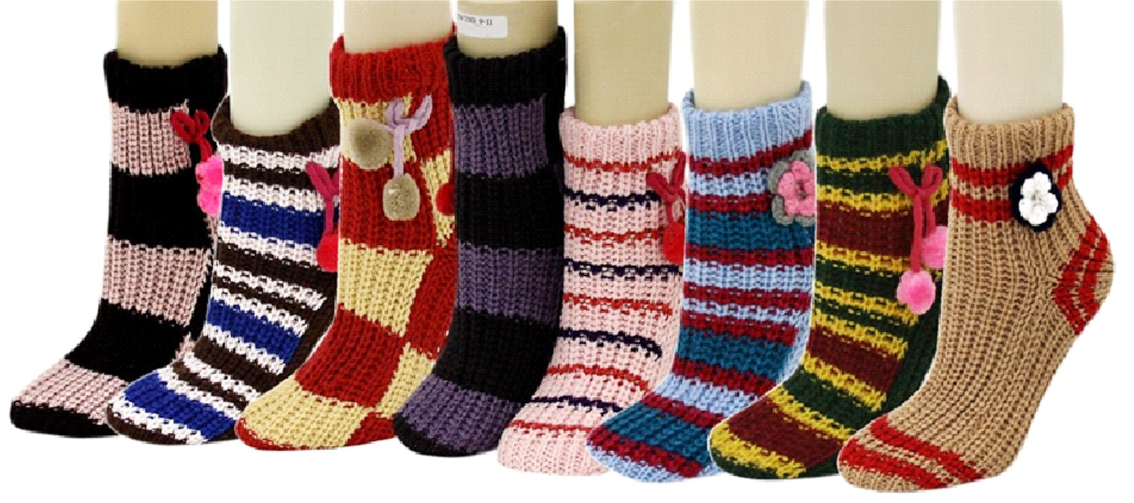 Fashion Mic's 3D Slipper Socks With Rubber Grips 6 Pairs (9-11, flowers and balls)