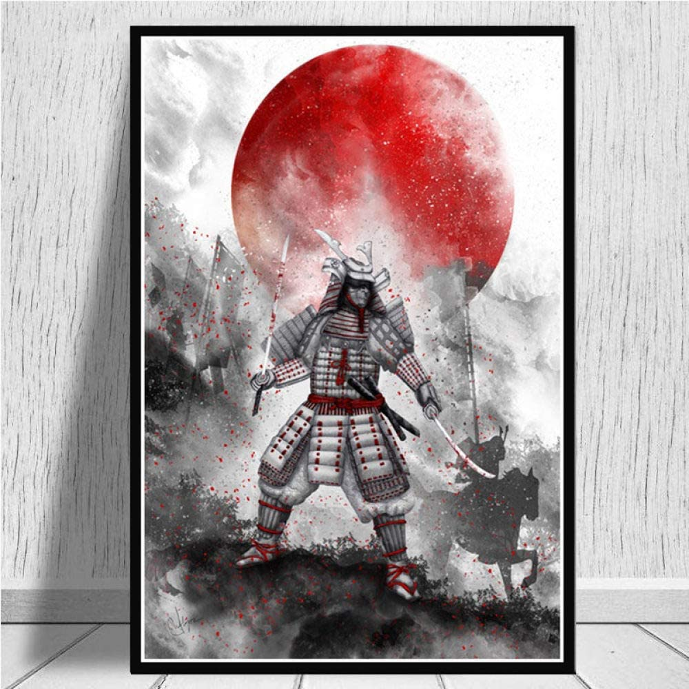 ZWXDMY Leinwand Bild,Japanische Samurai Schwertk/ämpfer R/üstung Abstrakte Ukiyo-E Kunst Malen Dekor Kunst Wandbild Poster Bild Rahmenlose Bild 20 /× 30 cm Home Decor Druck Leinwand