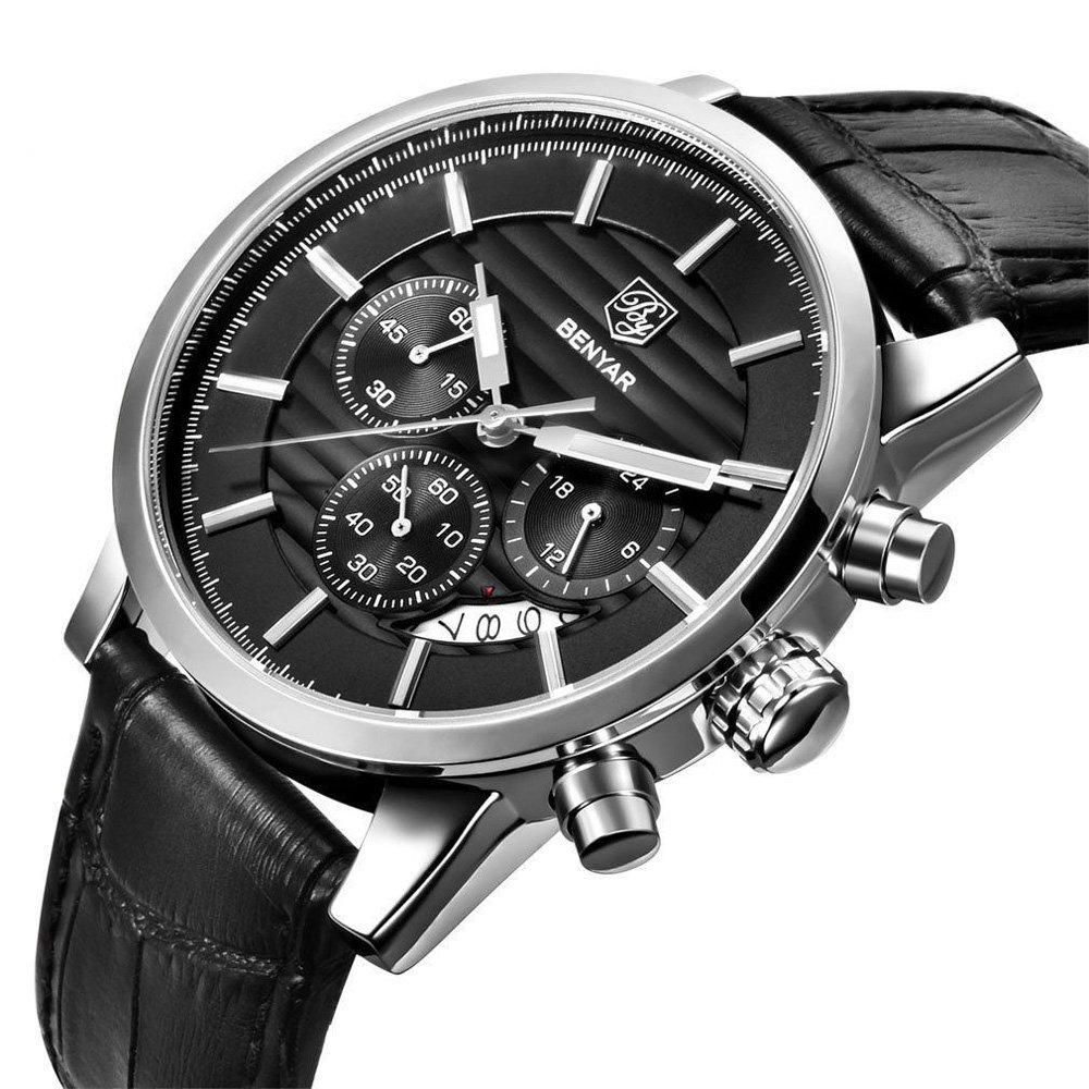 Sports Men Watch Chronograph Japan Quartz Wristwatch Pilot 30m Waterproof Black Leather Strap Date Day Business Men's Clock by BENYAR