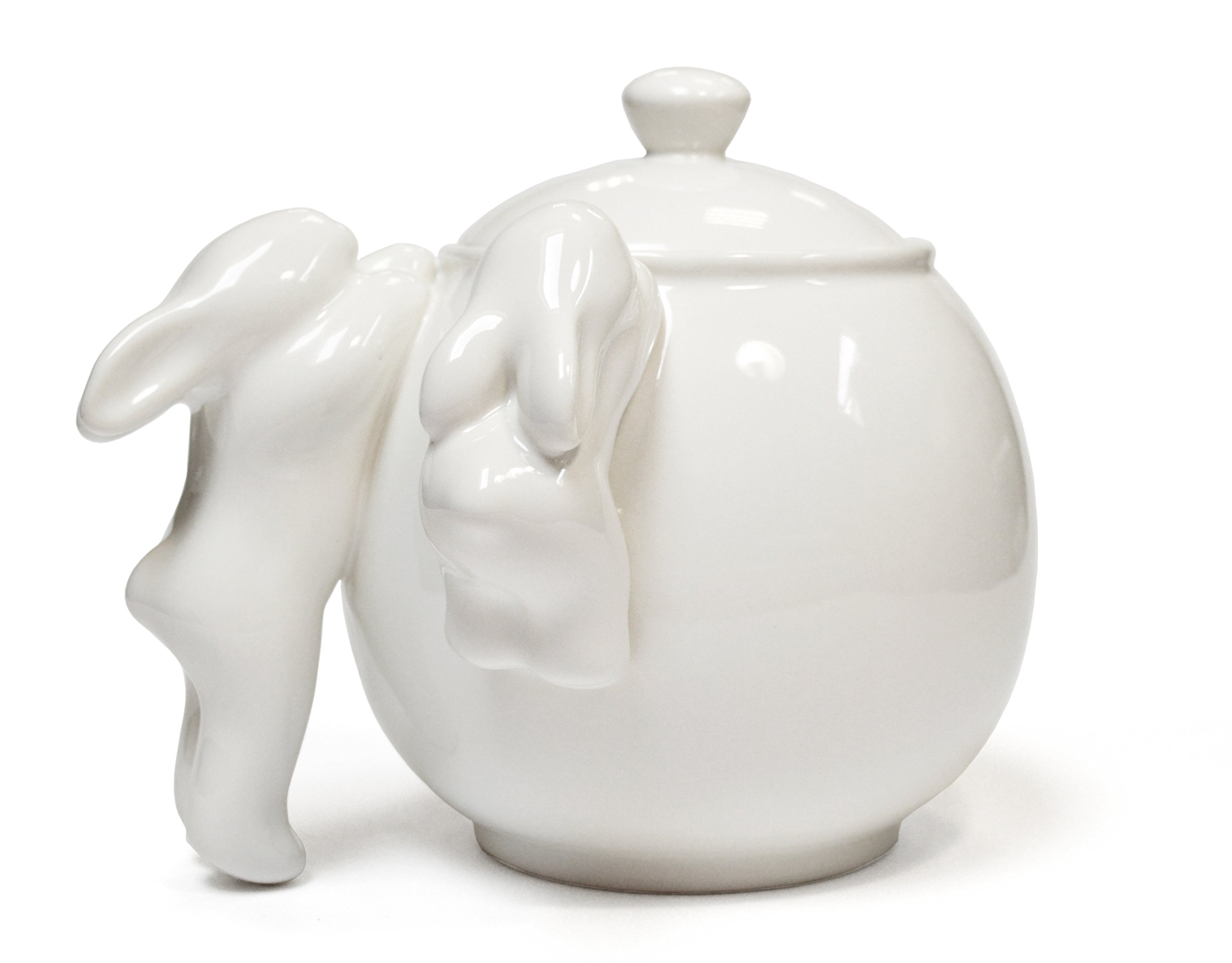 Original Natural Hand Sculpt Ceramic Collectible Porcelain Charming Rabbit Sugar Bowl. Bunny Crockery Art Collection of Tableware Crafts