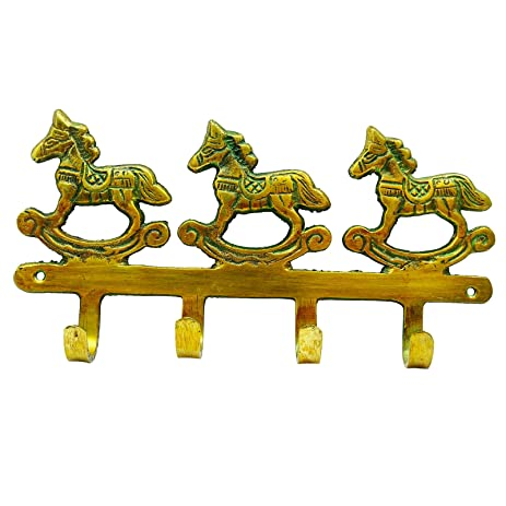 Amazon.com : Indian Wall Decor Metal Hook Brass Key Holder Rocking ...