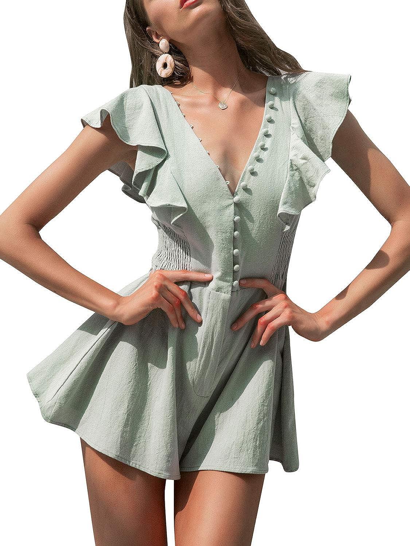 Missy Chilli Womens Short Sleeve V Neck Button Ruffled Summer Cotton Short Jumpsuit Romper