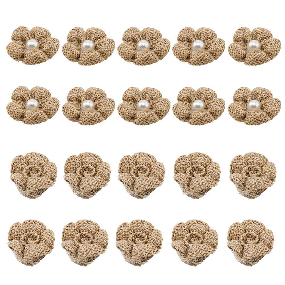 Handmade Burlap Rose Flower Embellishments with Pearl for DIY Craft Making and Home Wedding Party Decorations,20 Pieces,Two Style