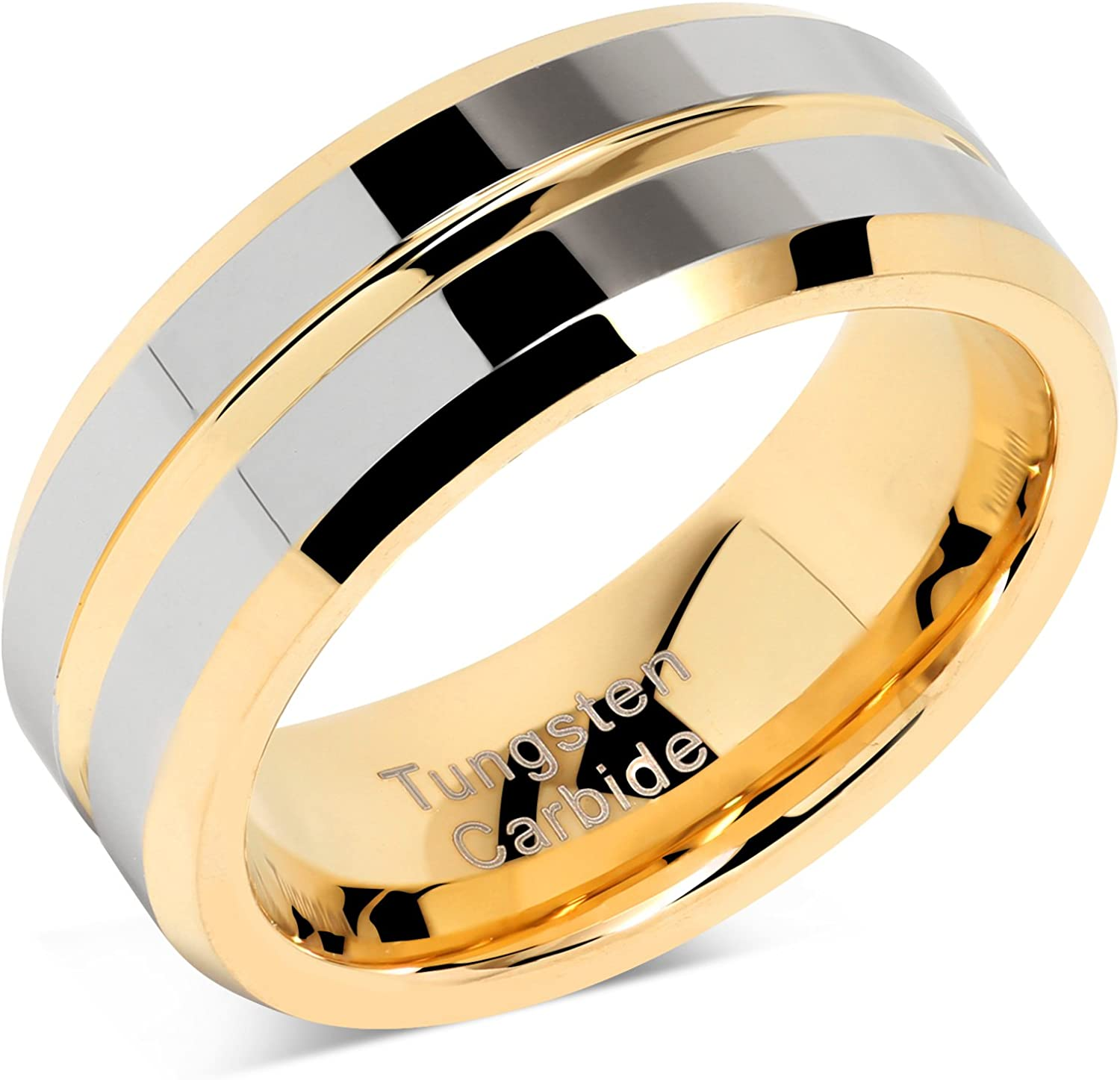 100S JEWELRY Tungsten Rings for Mens Wedding Bands Gold Silver Two Tone Grooved Center Line Size 6-16