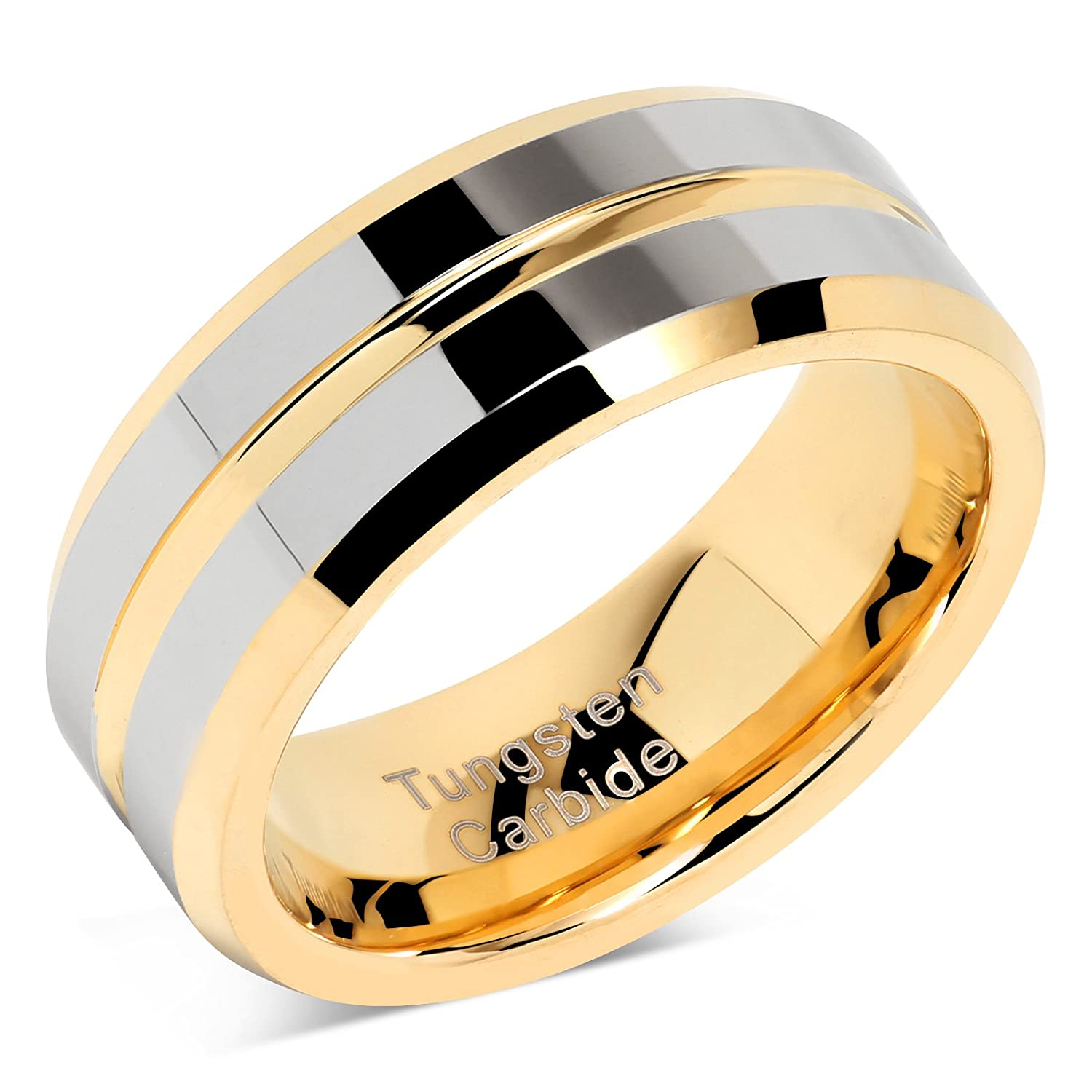 100S JEWELRY Tungsten Rings for Mens Wedding Bands Gold Silver Two Tone Grooved Center Line Size 8-16