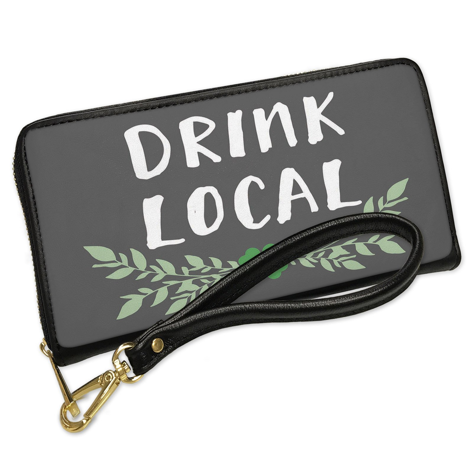 Wallet Clutch Drink Local St. Patrick's Day Green Leaves with Shamrock with Removable Wristlet Strap Neonblond