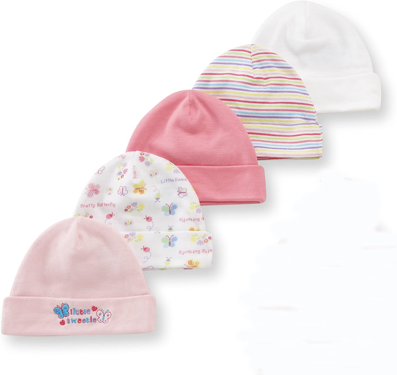 Gerber Baby Girls 5 Pack Caps