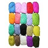 Lot de 20 pelotes de laine de 25g en acrylique pour tricot double - Assortiments de couleurs par Curtzy TM