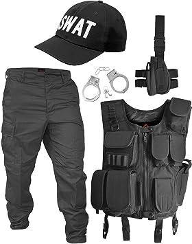 Disfraz de SWAT con chaleco, pantalones, funda para pistola, gorra ...