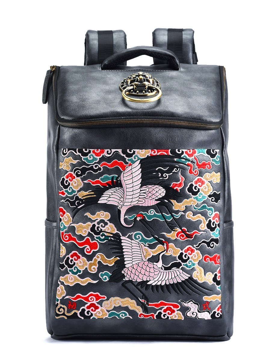 Amazon.com  MM Chinese Retro Embroidery PU Leather Backpack Cool Daypack  For Men   Women  Fashion Backpacks Store da7cde39e3602