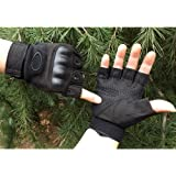 KevenAnna Tactical Gloves, Leather Pated Half Finger Military Gloves for Motor Driving, Outdoor, Camping, Hunting