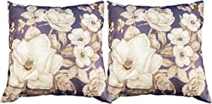 Magnolia Roses Flowers Vintage Pattern Pillow Covers 18x18 inch Set of 2 for Valentines Day Wedding Anniversary Wedding Home Office Car Couch Sofa Bed Decor
