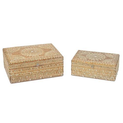 Hechas a mano pintadas a mano india madera joyas de caja del tesoro cajas joyas Baúles