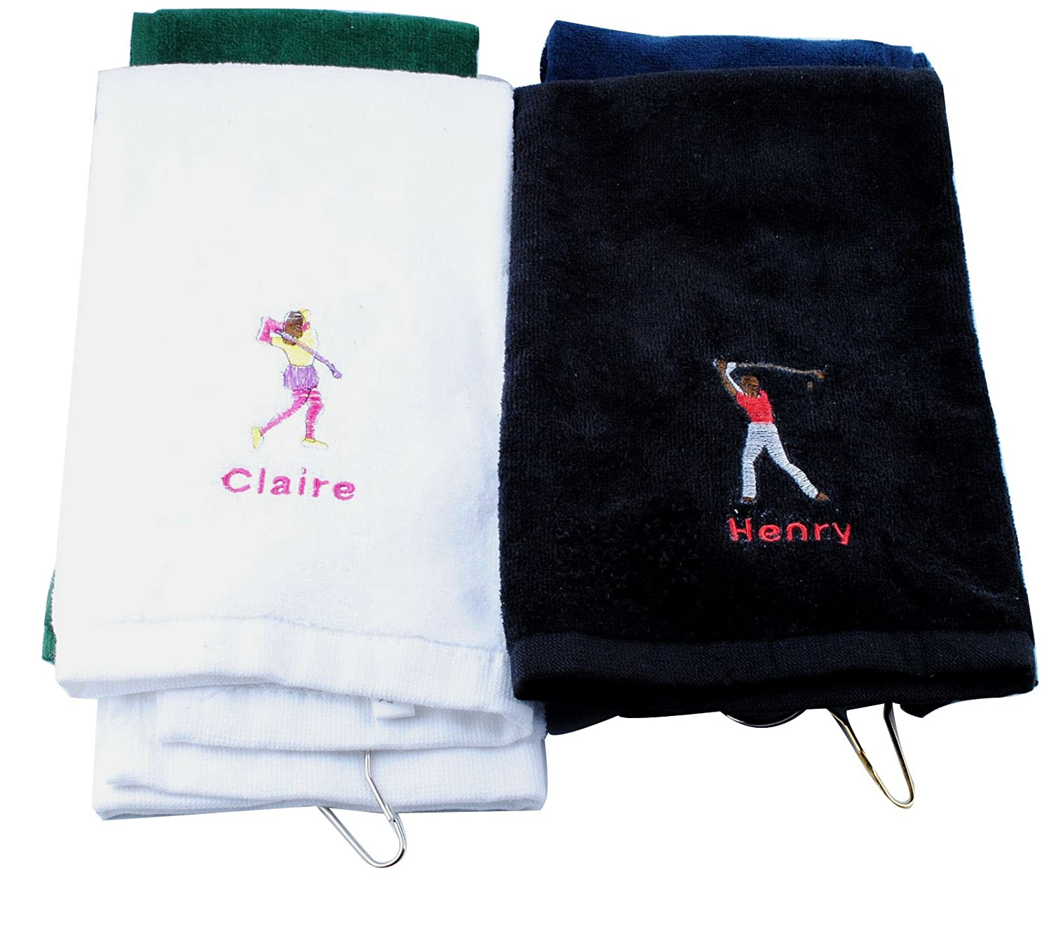 Amazon.com   Personalized Golf Towel for men Custom Embroidered with  Hanging Ring for Birthday Fathers Day Gift (Black)   Sports   Outdoors b4db73a5ad236