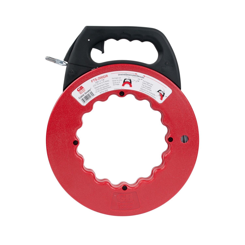 Gardner Bender FTS-200GR Cable Snake Electrical Fish Tape, Carbon Steel, Corrosion-Resistant Fishing Tape, Red & Black, 240'