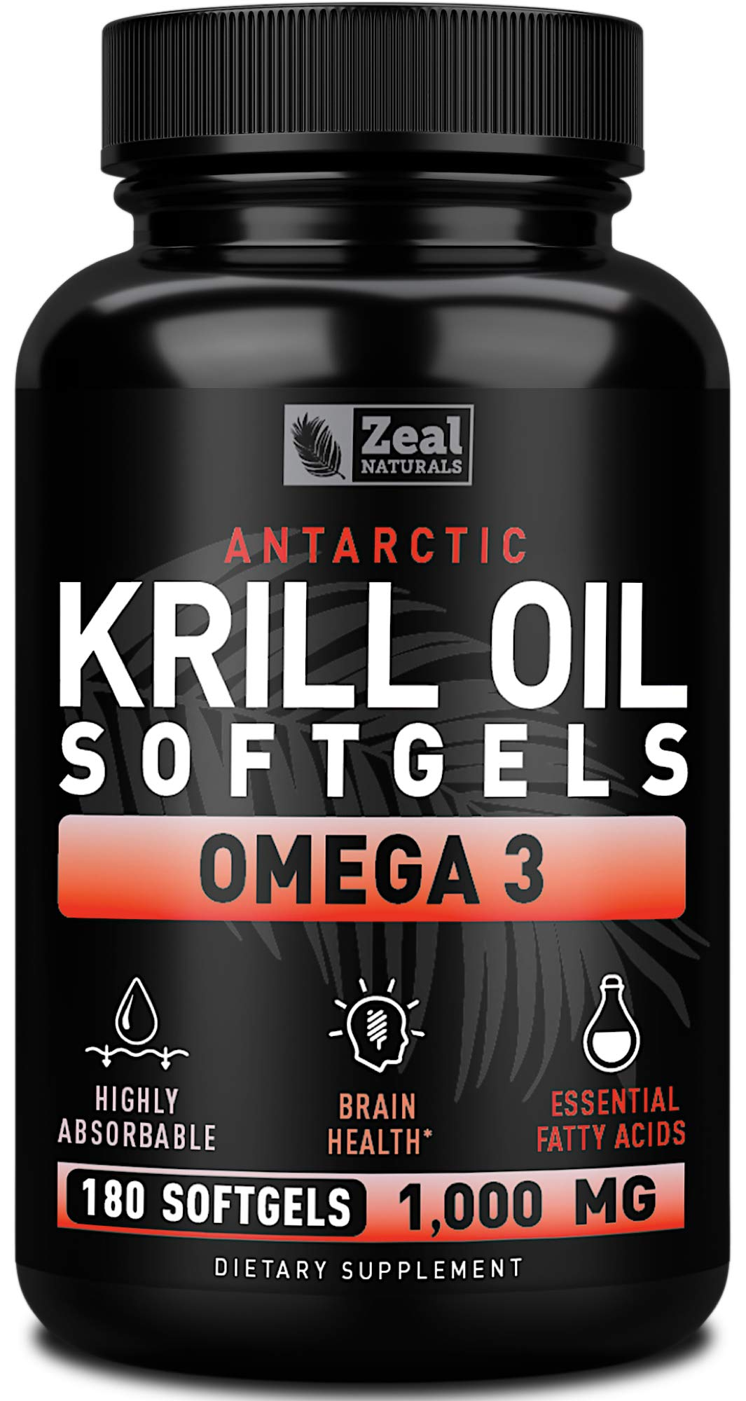Pure Antarctic Krill Oil 1000mg (180 Softgels) 3 Month Supply Omega 3 Krill Oil Supplement with EPA, DHA & Astaxanthin - Omega 3 Fish Oil for Joint, Brain, and, Heart Support