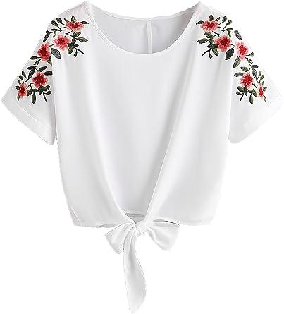 Womens Summer Rose Printed Short Sleeve Crop Top Casual Tee
