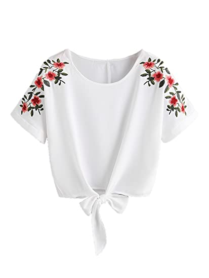 sweatyrocks women s summer short sleeve crop top t shirt tie front Fabric Dye sweatyrocks women s floral embroidered short sleeve crop top t shirt tie front blouse top white