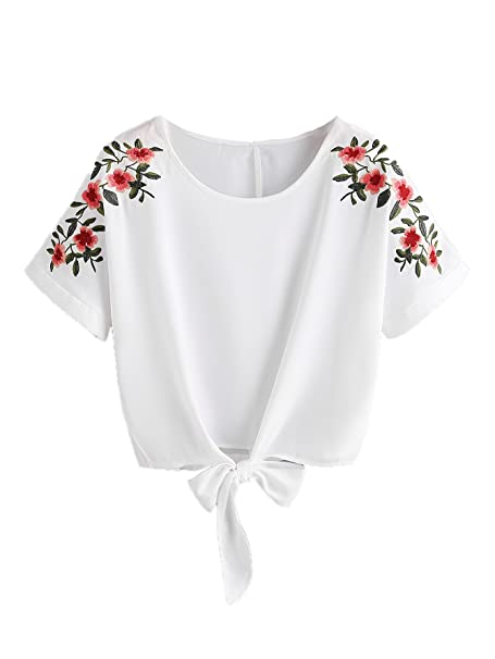 e8e76b0534a0c SweatyRocks Women s Floral Embroidered Short Sleeve Crop Top T-Shirt Tie  Front Blouse Top White