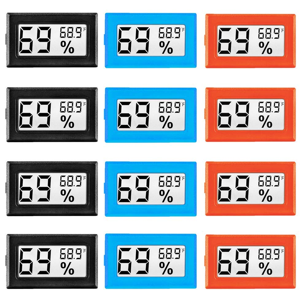 12 Pack Mini Digital Electronic Temperature Humidity Meters Gauge Indoor Thermometer Hygrometer LCD Display Fahrenheit (℉) for Humidors, Greenhouse, Garden, Cellar, Fridge, Closet