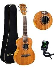 Hua Wind concierto 23 Pulgadas Ukulele Principiante Kit con paquete ,afinador eléctrico (color natural