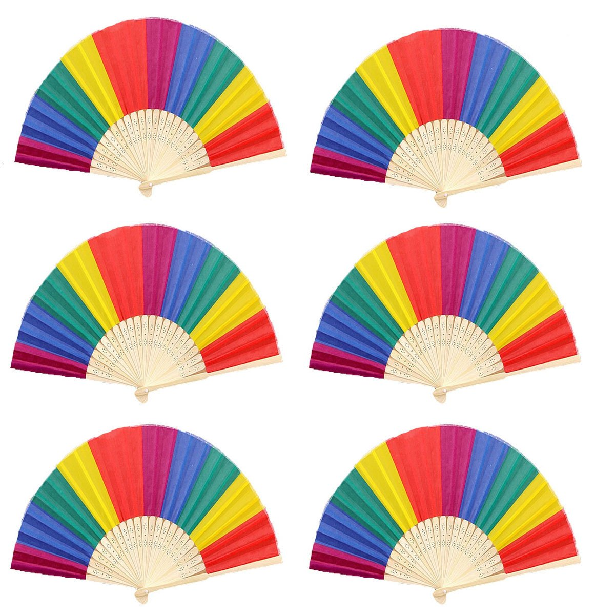 Winture 10 PCS Peacock Hand Fans, Spanish Folding Hand Fan, Flower Dancing Fans,Summer Handheld Folding Fans Party Favors for Girls Women (Embroidered Peacock Tail Pattern, 10 Assorted Colors)