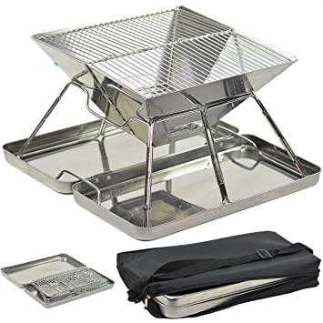 Barbecue Charbon de Bois BBQ Grill Portable Démontable Inox Table ...