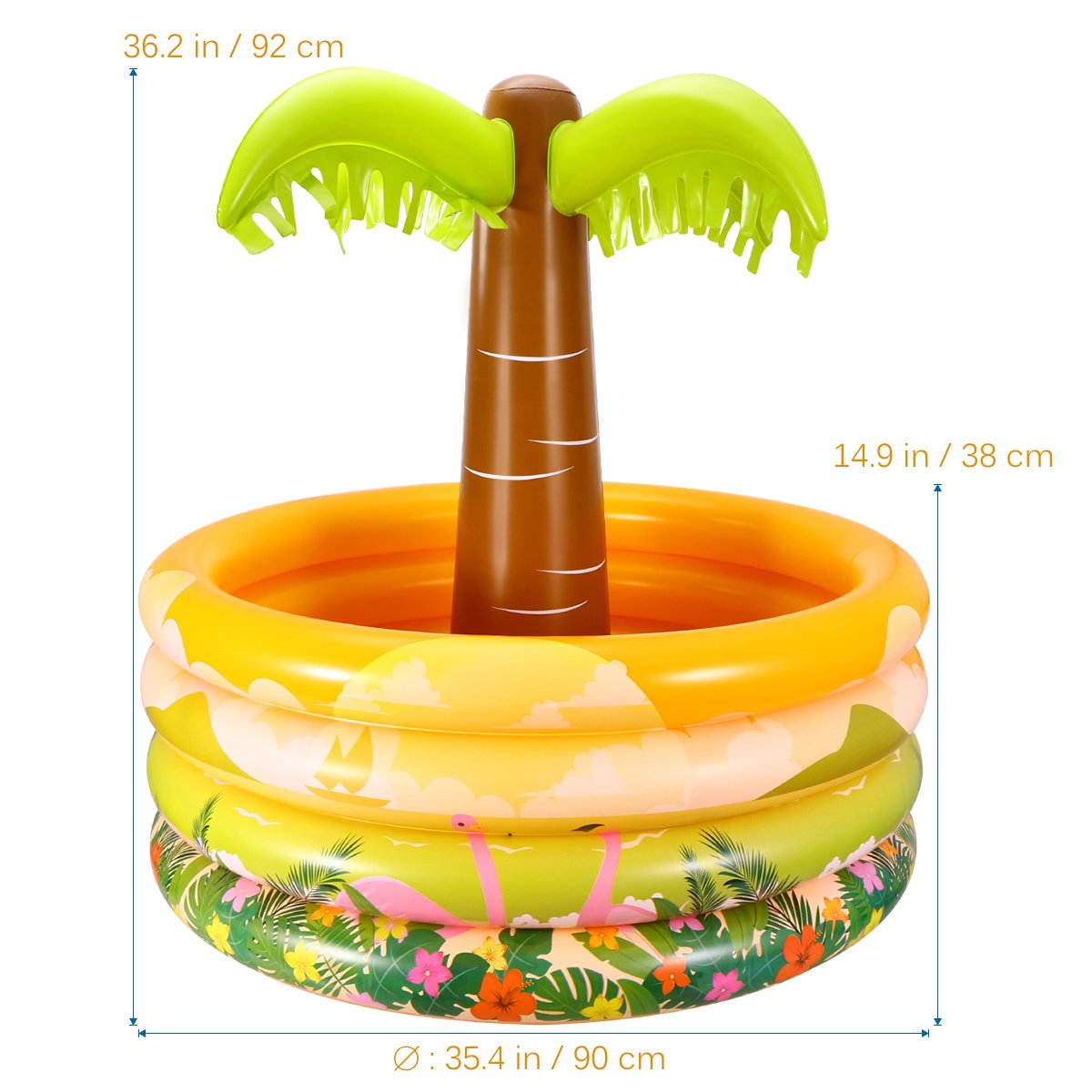 6 Elcoho 6 Pack Jumbo Inflatable Palm Trees Inflatable Toys for Hawaii Party Decoration Luau Party Backdrop