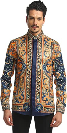 Men/'s Printed Shirt Skinny Black Cotton Long Sleeve Pattern Pixals Modern 3 New