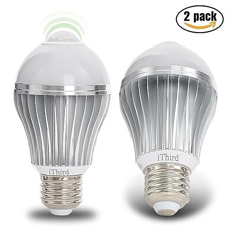 Sensor de movimiento luz bombilla, [actualización] ithird E26 7 W LED PIR de