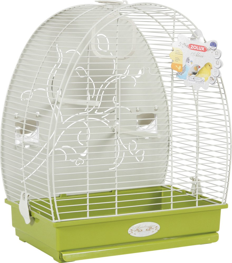 Green Zolux Alice Exotic Bird Cage with Metal Base Budgies Olive 41 x 30 x 49.5 cm