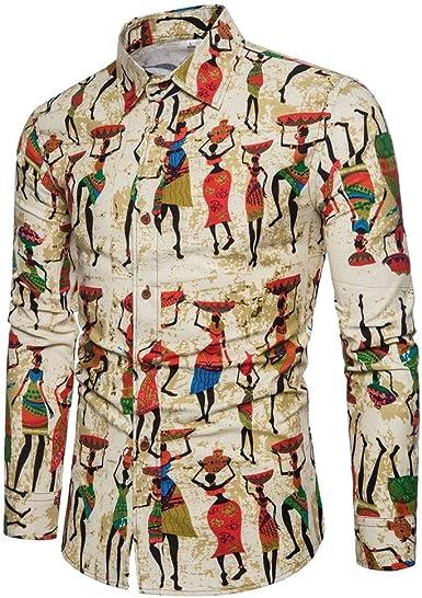 Camisas para Camisa Casual De Algodón Y Cáñamo Estampada para ...