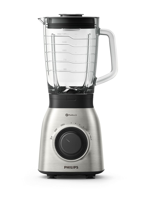Philips Batidora de Vaso HR3555/00 900w, Capacidad 2l, 900 W, 2 litros, Vidrio, Negro, Transparente: Amazon.es: Hogar