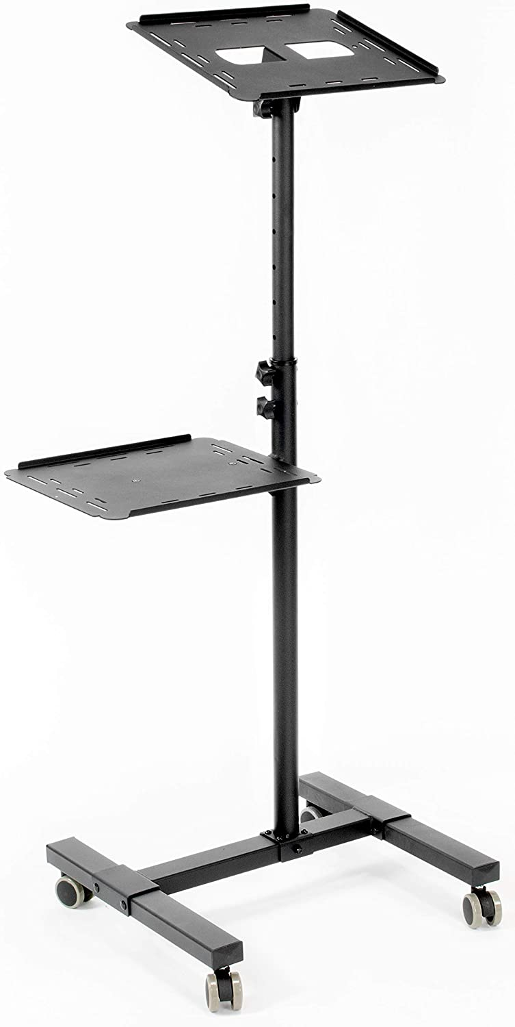 VIVO Black Mobile Rolling Projector Stand   Height Adjustable Projector and Laptop Trolley Presentation Cart (CART-V04C)