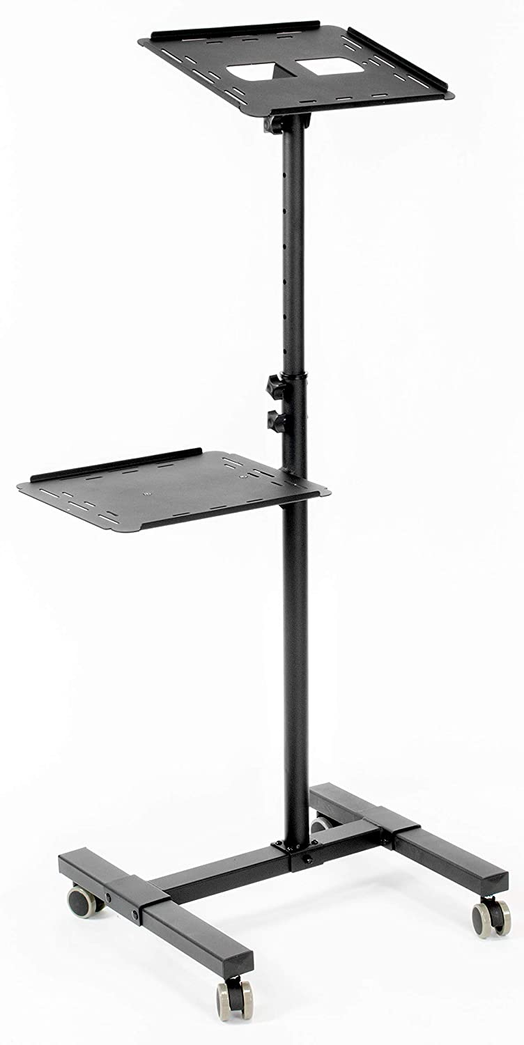 VIVO Black Mobile Rolling Projector Stand | Height Adjustable Projector & Laptop Trolley Presentation Cart (CART-V04C)