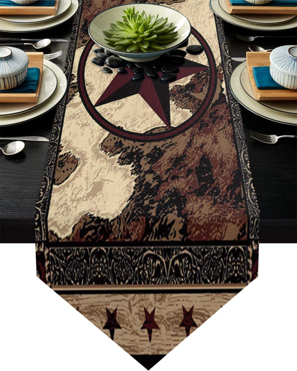 COLORSUM Linen Burlap Table Runner Dresser Scarves Western Texas Star on Wood Panel Rustic Vintage Style Home Dining Table Decor Table Runner Mat for Farmhouse, Wedding, Party, BBQ- 18 x 72 Inch