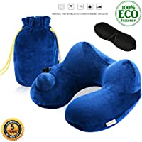 FINDANOR Inflatable Travel Pillow, The Travel Neck Pillow Washable Soft Velvet Cover, Travelling Pillow Airplane,Office Napping Camping, It's Also a Nice Kids Travel Pillow.