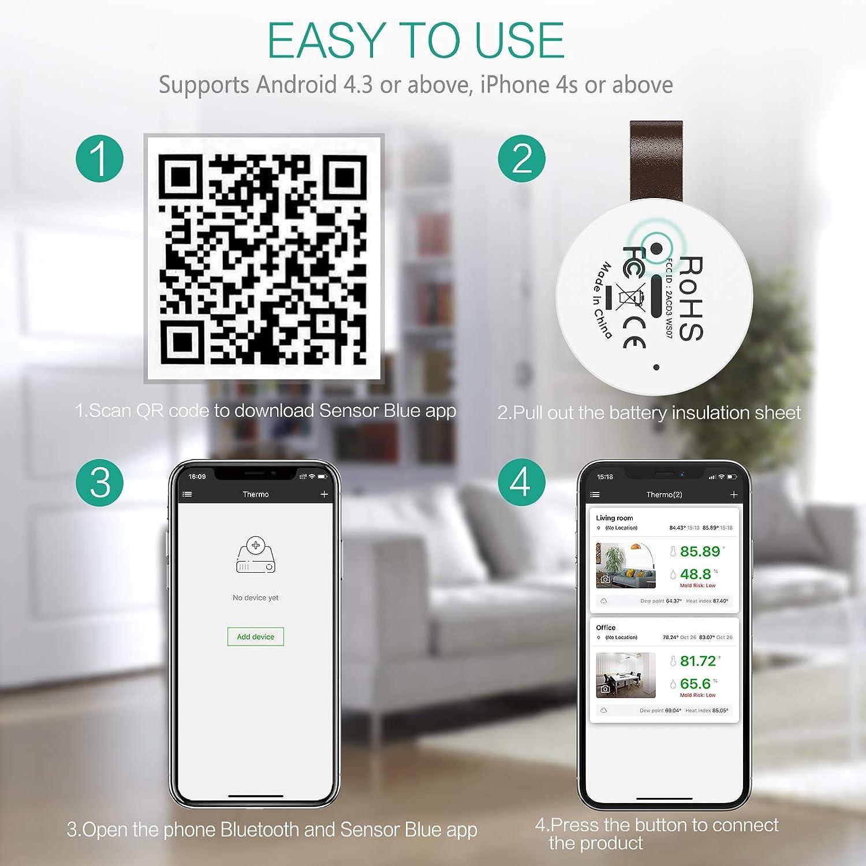Mini Bluetooth Humidity Sensor with Wireless Thermometer Hygrometer