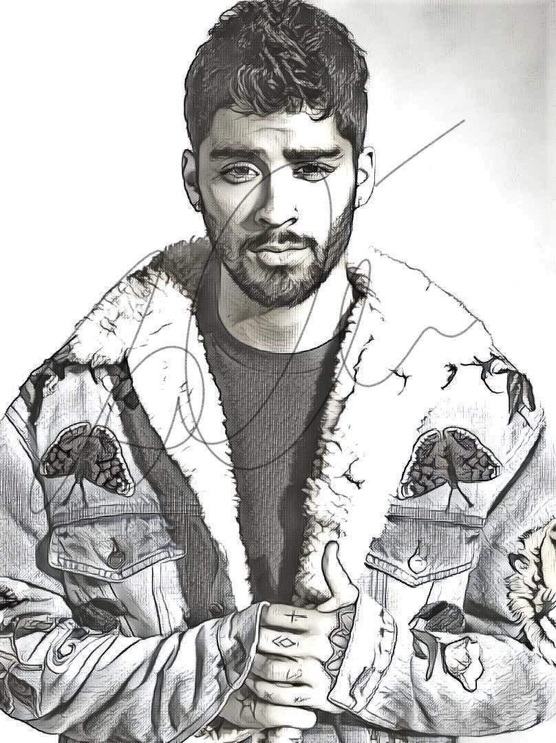 Amazon com zayn malik sketch drawing print poster hand drawn pencil singer zayn sketch1 handmade